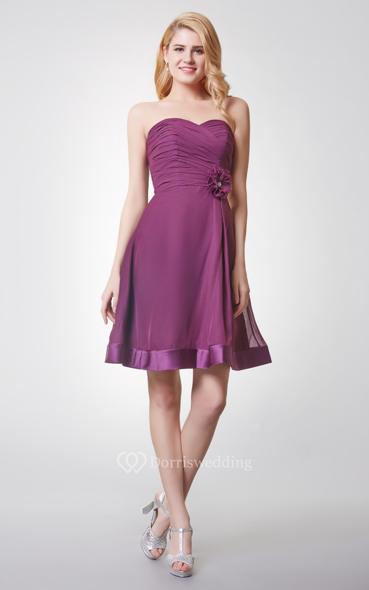 Knee-Length Ruched Chiffon Bridesmaid Dress With Elegant A