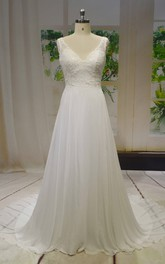 Chiffon A-line Sleeveless V-neck Wedding Dress With Lace Top And V-back Buttons