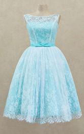 A-Line Knee-Length Bateau Short Sleeve Lace Sash Pleats Lace-Up Dress