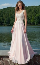 Sheath V-Neck Appliqued Sleeveless Floor-Length Chiffon Prom Dress
