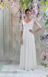 Half Sleeve V-Neck Keyhole Back Chiffon Dress With Lace Bodice and Pleated Skirt