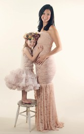 Lace Mermaid Sleeveless Strapless Maternity Dress
