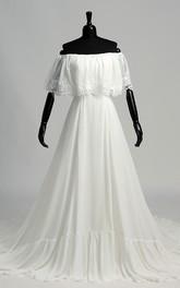 A-line Off-the-shoulder Sleeveless Chiffon Wedding Dress with Chapel Train