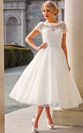 Tea-Length A-Line Cap Sleeve Beaded Bateau Neck Tulle Wedding Dress