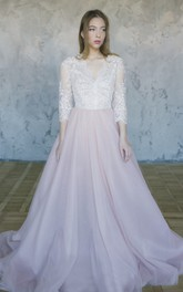 Lace Tulle Wedding Gown With V-neck And 3/4 Sleeve