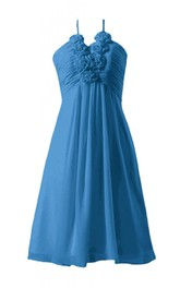 Sleeveless Ruched Appliqued Bodice Knee-length Chiffon Dress