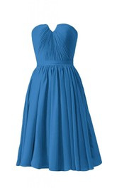 Strapless Ruched Bodice Knee-length Pleated Chiffon Dress