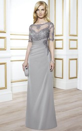 Maxi Appliqued Short Sleeve Bateau Neck Chiffon Formal Dress