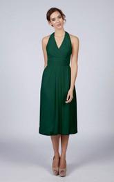 Halter V Neck A-line Chiffon Tea Length Dress Forest Green