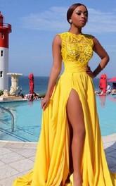 Sexy Illusion Sleeveless Chiffon Prom Dress With Front Split