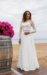 Off-The-Shoulder Long Sleeve Lace and Chiffon Dress With Bow Sash