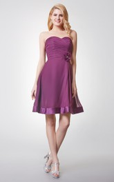 Glamorous Sweetheart Ruched Knee Length Chiffon Dress With Backless
