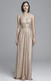 Maxi V-Neck Sleeveless Ruched Sequin Bridesmaid Dress