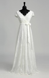 A-line Scalloped V-neck Cap Illusion Short Sleeve Floor-length Lace Wedding Dress