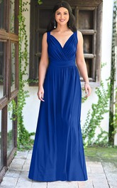 Casual V-neck A Line Sleeveless Floor-length Chiffon Bridesmaid Dress With Ruching