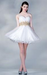 A-Line Mini Sweetheart Sleeveless Satin Dress With Ruffles And Waist Jewellery
