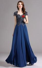 A-Line Queen Anne Short Sleeve Empire Chiffon Appliques Keyhole Dress