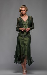 Casual Sheath V-neck Tea-length Mother of The Bride Dress with Illusion Bolero