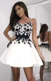 Satin A Line Backless Zipper Sleeveless with Appliques and Sash Homecoming Dress
