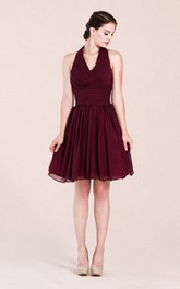 Halter A-line Short Chiffon Dress With Pleats