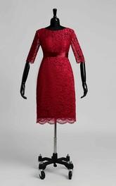 Sheath Illusion Half Sleeve Dress