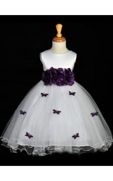 A-line Scoop Hand-made Flower Sleeveless Floor-length Organza Flower Girl Dresses
