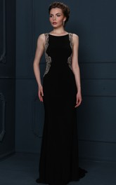 Beaded Sleeveless Scoop Neck Chiffon Evening Dress With Brush Train