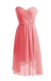 Asymmetrical Sweetheart Pleated Short Dress With Zipper Back