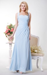 Graceful Sweetheart Sheath Chiffon Long Dress With Bow