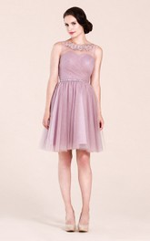 Sleeveless A-line Short Dress With Appliques
