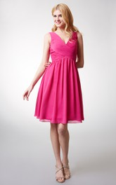 Chic Top-ruched V-neck A-line Flowy Chiffon Dress