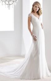 V-Neck Sheath Chiffon Wedding Dress With Bandage Waist And Illusive Sleeves And Back