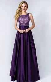 A-Line Long Bateau Sleeveless Satin Low-V Back Dress With Beading And Lace