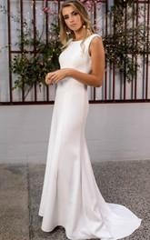 Modern Sheath Bateau Satin Lace Floor-length Sweep Train Wedding Dress