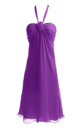 Halter Short Dress With Flower and Ruching