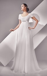 Empire Short Sleeve Long Scoop Neckline Button Back Dress With Crystal Detailing