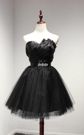 Sweetheart Neck Pleated Short Tulle Cocktail Dresses