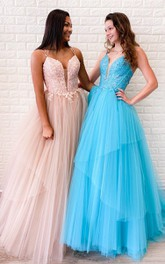 Tulle Floor-length A Line Sleeveless Casual Prom Dress with Appliques