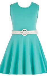 Sleeveless Scoop-neck A-line Dress With Pleats