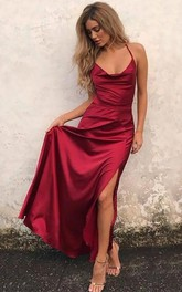 Satin Floor-length A Line Sleeveless Solid Formal Dress with Ruching and Split Front