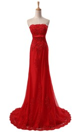 Strapless Dress With Appliques and Beadings