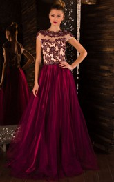 A-Line Sweep High-Neck Short Sleeve Tulle Beading Appliques Lace-Up Dress