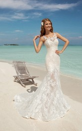 Mermaid Long Sweetheart Sleeveless Lace-Up Lace Dress Appliques