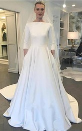 Modest Satin A-line 3/4 Sleeve Wedding Dress with Full Covered Back