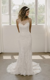 Open Back Sleeveless Mermaid Sweetheart And Buttons Lace Wedding Dress