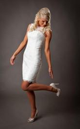 Sleeveless Sheath Lace Short Dress With Lace-Up Back