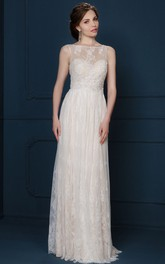 A-Line Maxi Appliqued Bateau-Neck Sleeveless Lace Evening Dress With Pleats