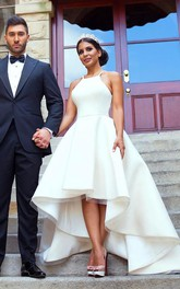 Simple Hi Low Halter Neck Satin A-Line Sleeveless Bridal Gown