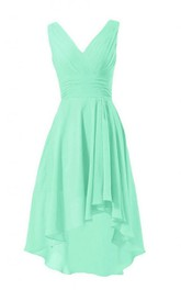 Asymmetrical V-neck Chiffon A-line Dress With Zipper Back