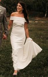 Satin Floor-length Court Train Trumpet Sleeveless Casual Wedding Dress